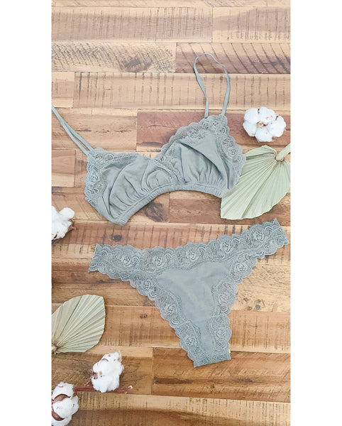 Organic Cotton Olive Green Wrap Bralette + Not So Basic Thong Set