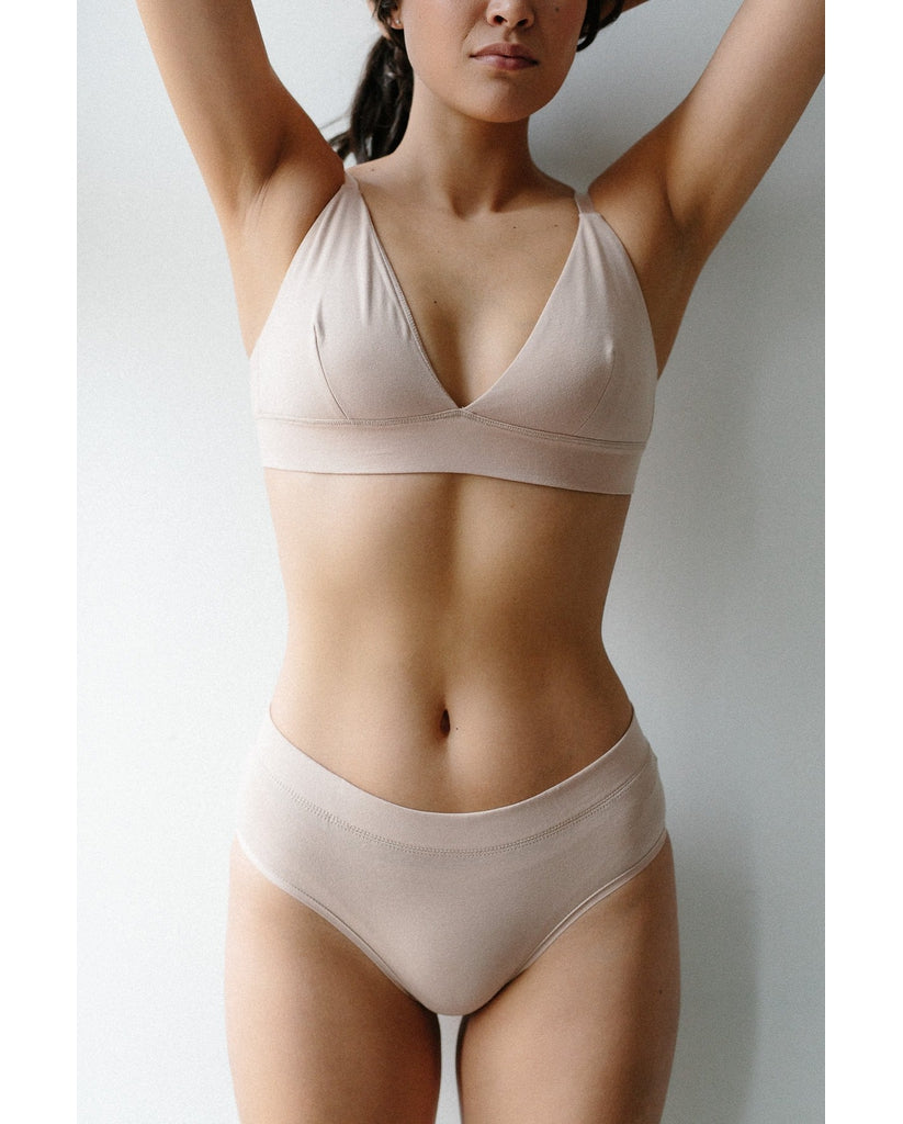 Organic Cotton Triangle Bralette + 2-Pack Hipster Bikini Set - Beige *FINAL SALE*