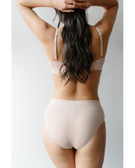 Organic Cotton Triangle Bralette + 2-Pack Hipster Bikini Set - Beige