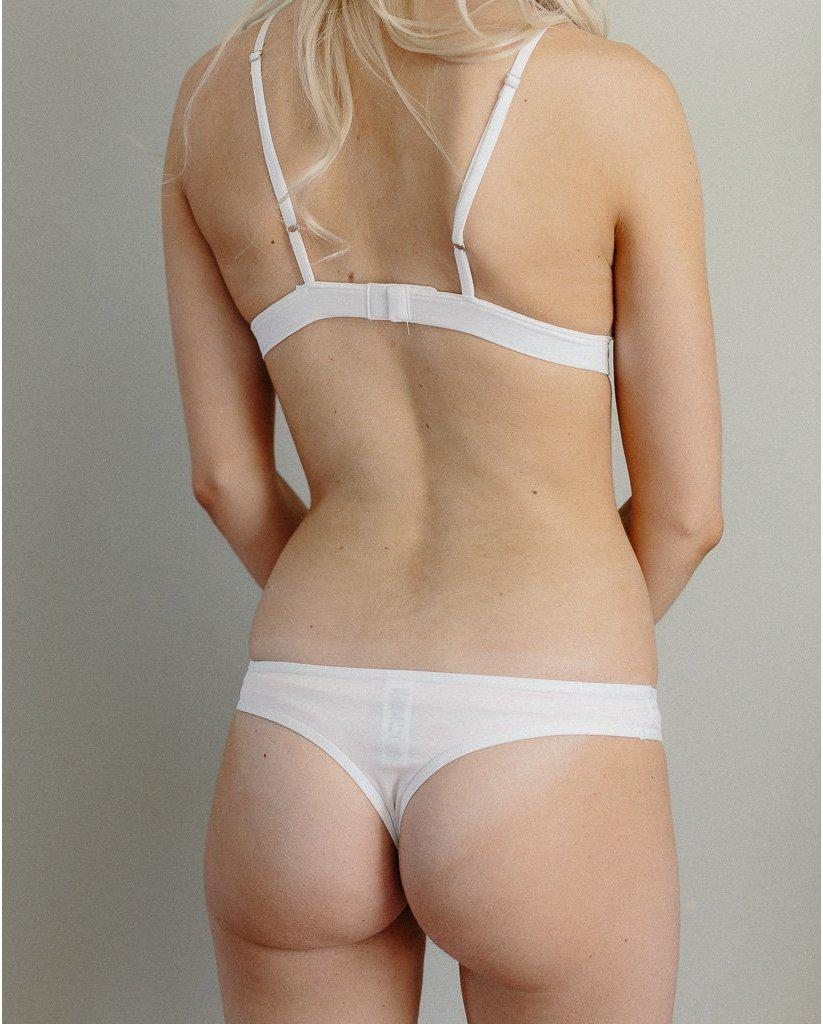 Organic Cotton Basic Rosy Thong - White
