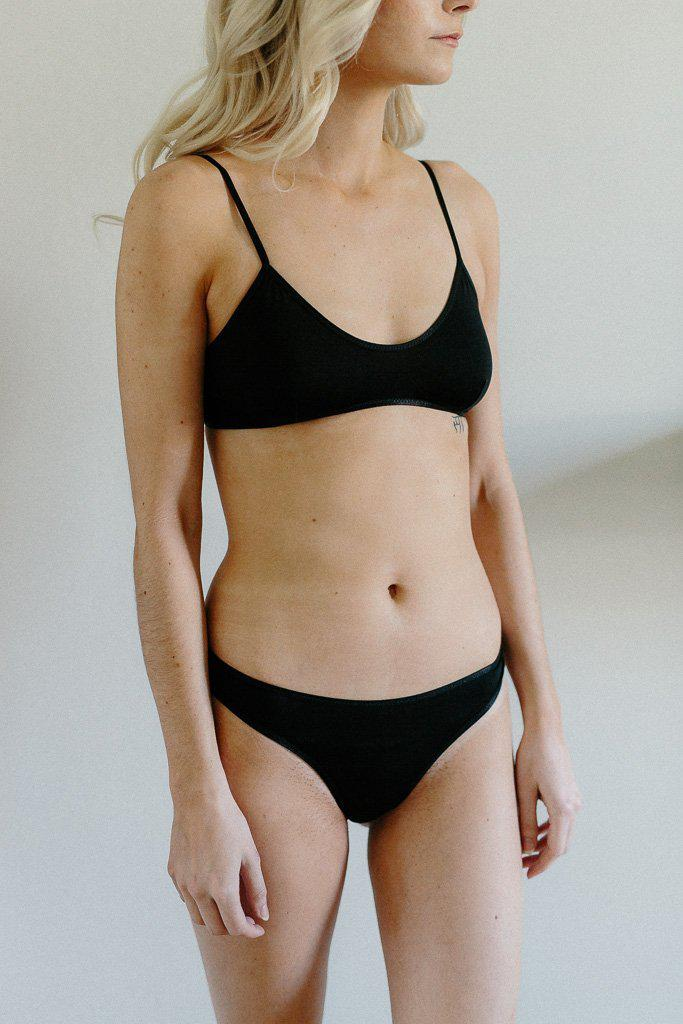 Organic Cotton Basic Rosy Thong - Black *Only XL left! - FINAL SALE ITEM*