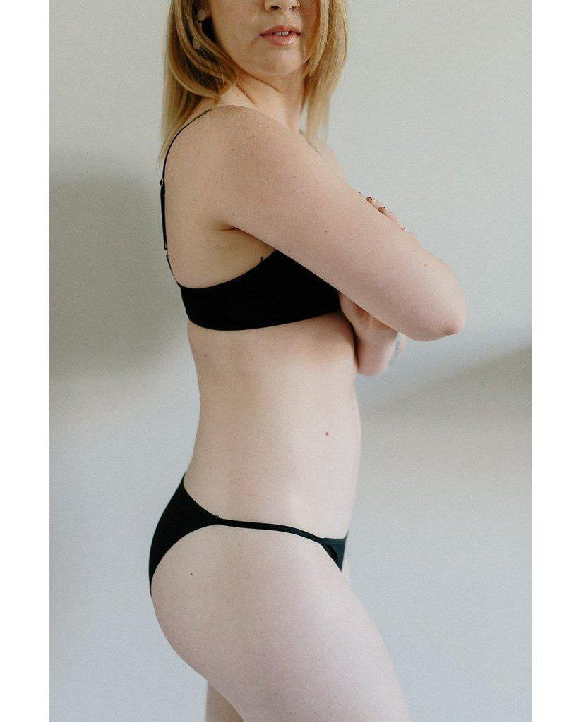 Organic Cotton Audrey String Bikini - Black *Only XL left! - FINAL SALE ITEM*