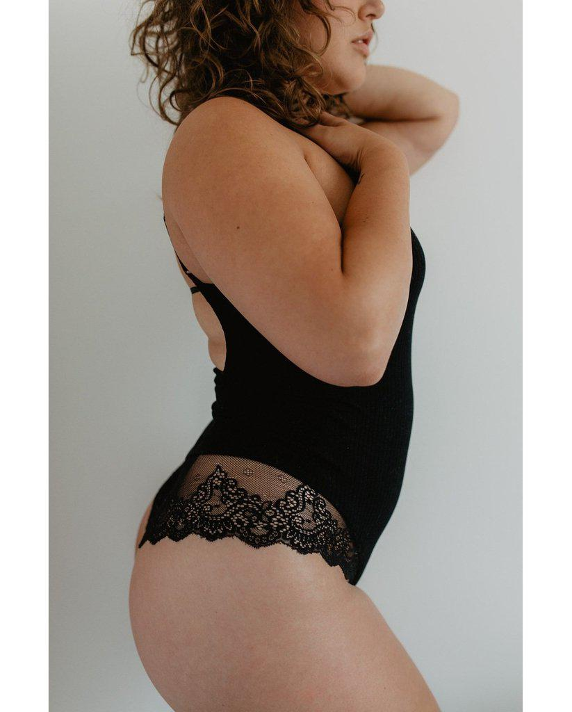 Eco Rib Bamboo Bodysuit with Lace - Black