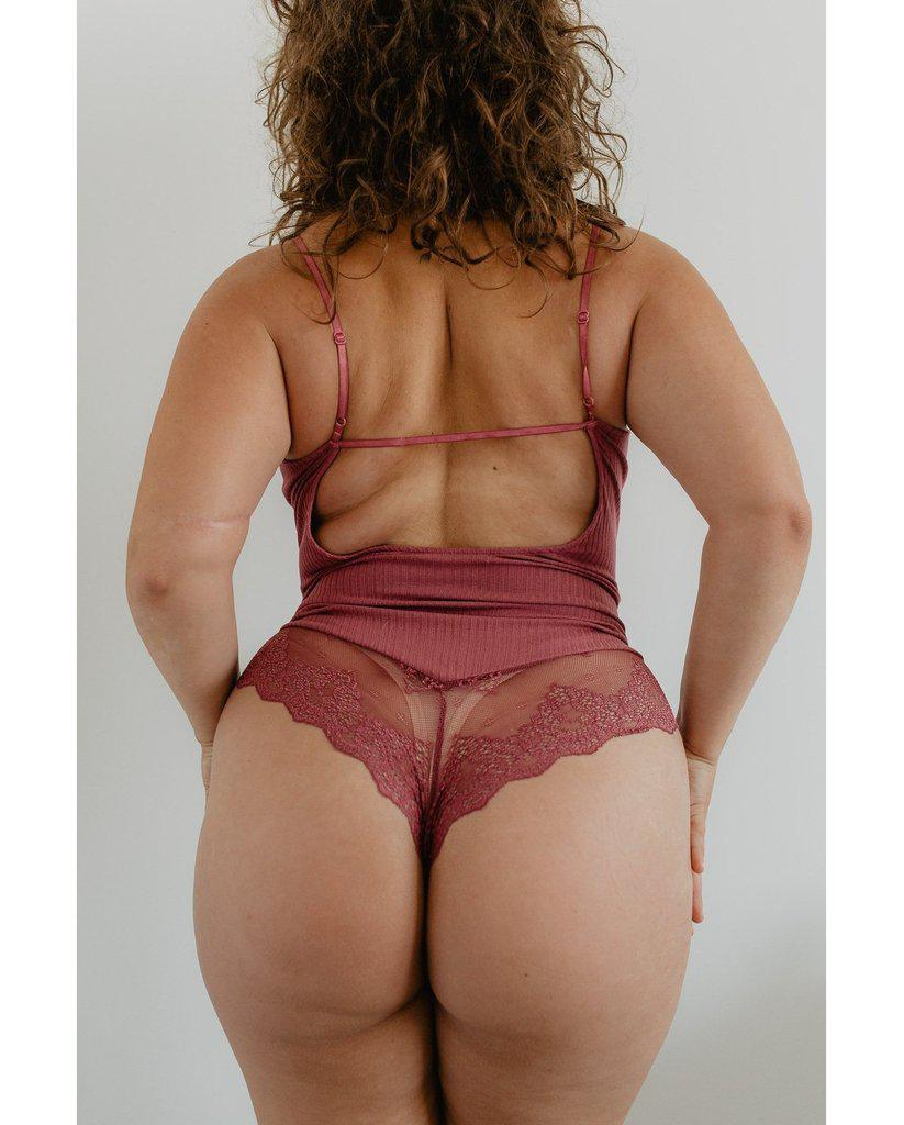 Eco Rib Bamboo Bodysuit with Lace - Plum Pink