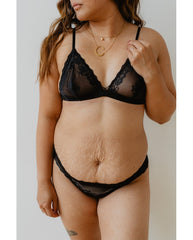 Brianna Recycled Lace Comfie Thong - Black