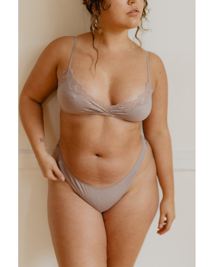 Organic Cotton Basic Thong - Oyster Taupe