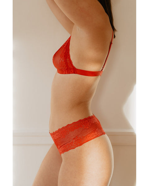 Brianna Recycled Lace Comfie Thong - Red *Only M/L + L/XL left!*