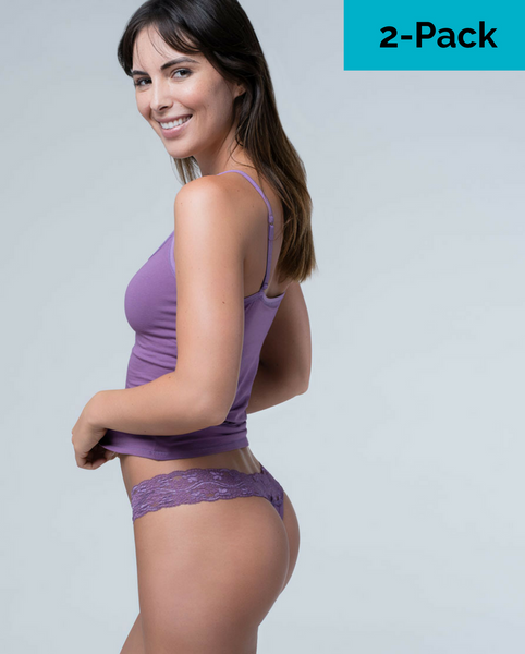 Plum / Lilac Organic Cotton Lace Thong - 2 pack *Only 1 XL left!*