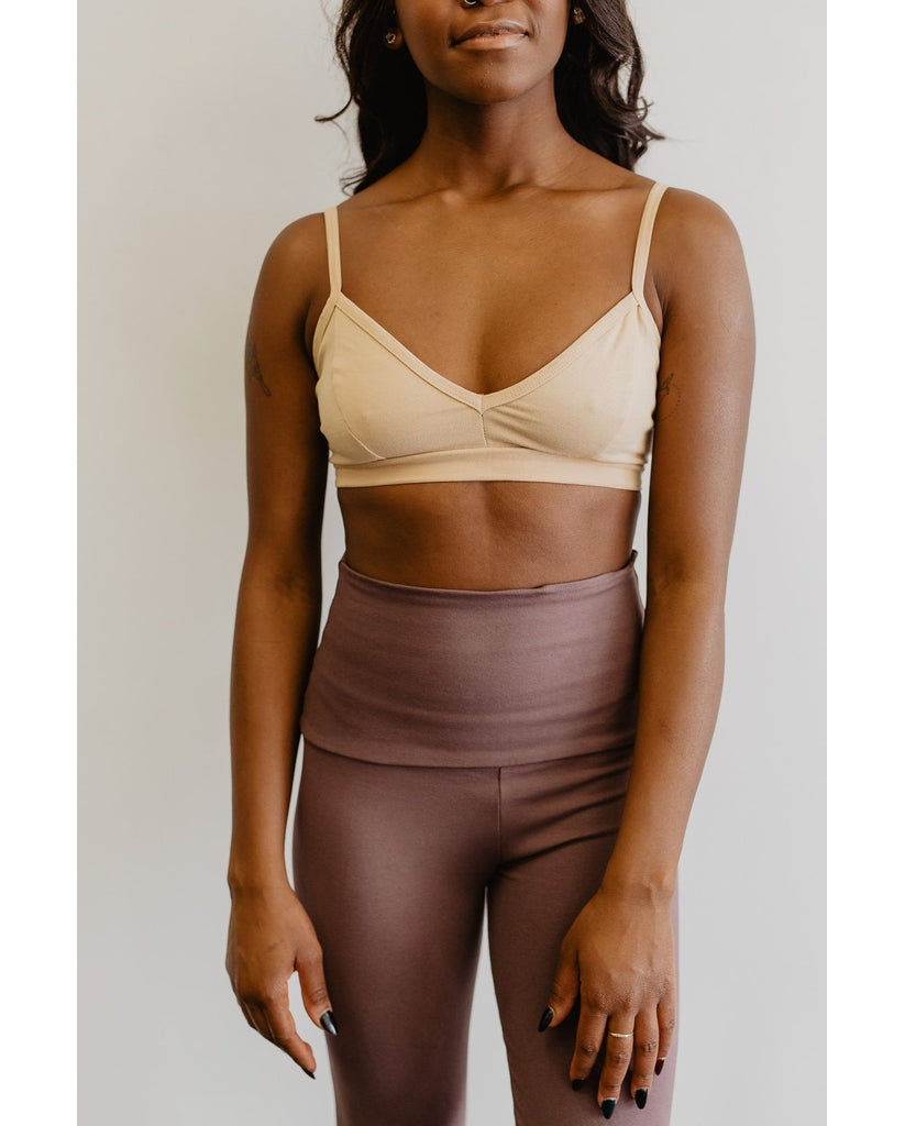 Organic Cotton Light Sports / Yoga / Lounge Bra - Beige *Only XS, S, L and XL left! FINAL SALE*