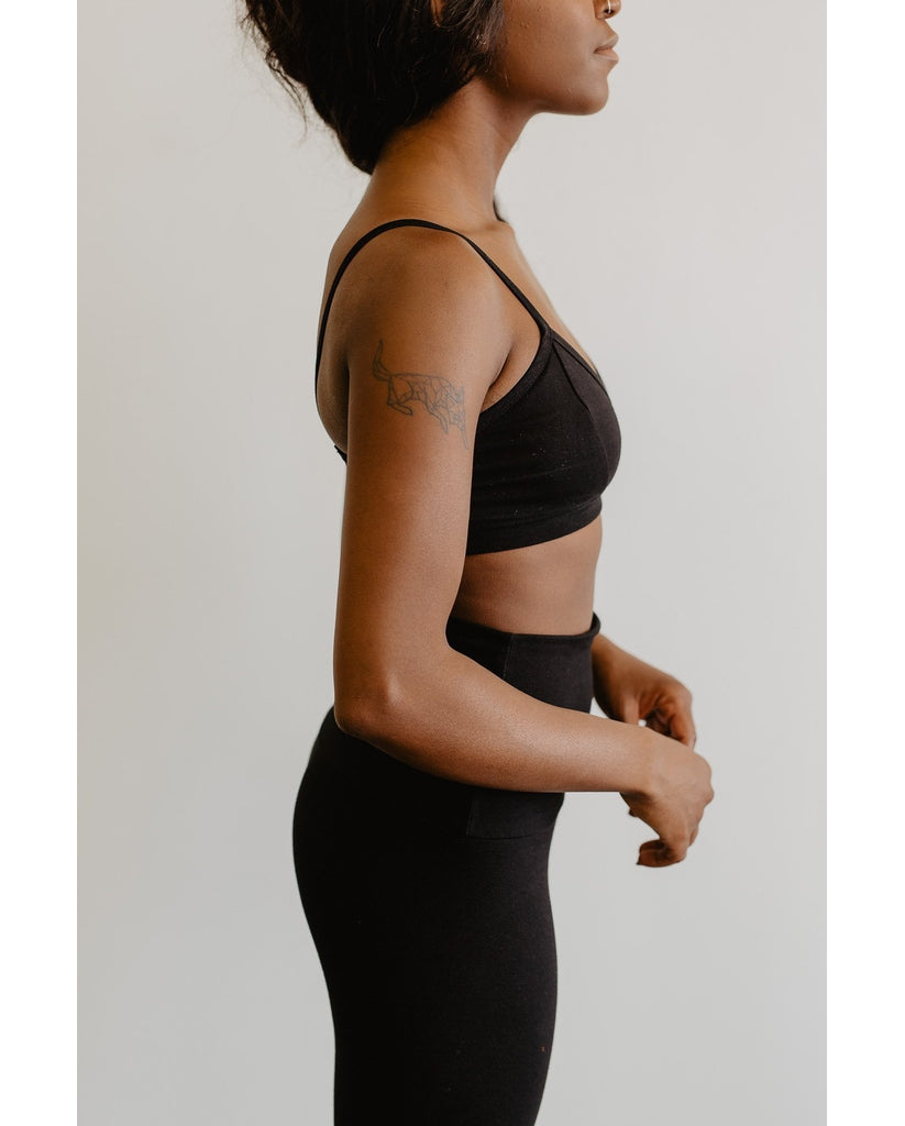 Organic Cotton Light Sports / Yoga / Lounge Bra - Black