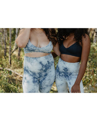 Organic Cotton Light Sports / Yoga / Lounge Bra - Indigo Tie-Dye