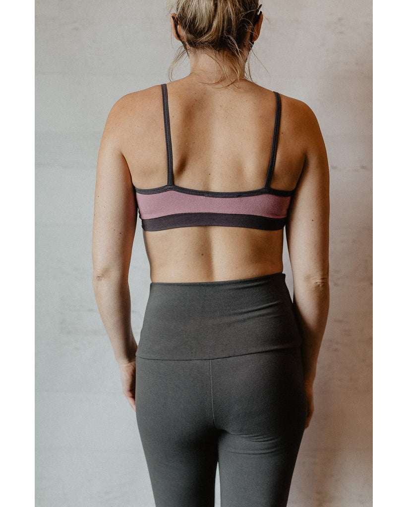 Organic Cotton Light Sports / Yoga / Lounge Bra - Slate Grey / Dusty Rose Pink *Final Sale*