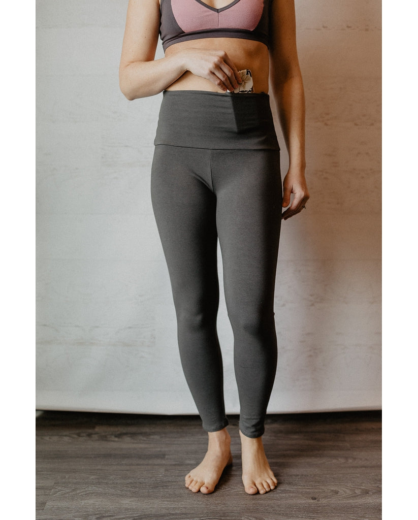 Pocket High Waist Organic Cotton Leggings - Slate Grey