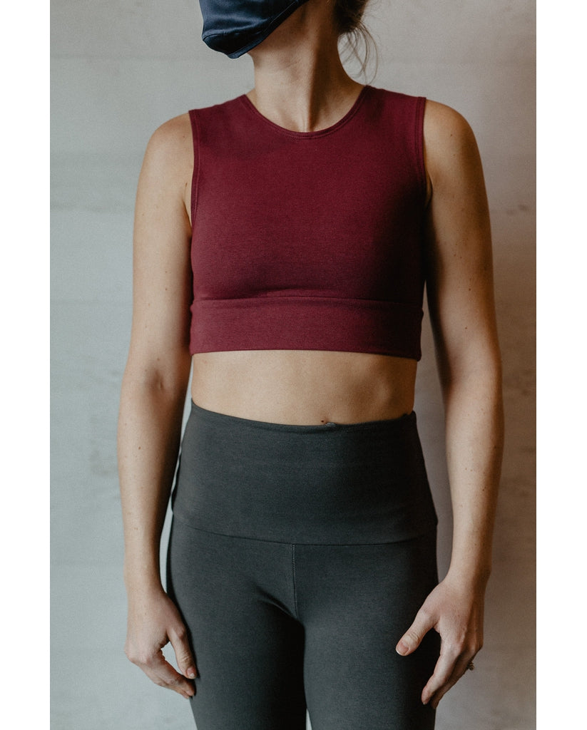 Organic Cotton Reversible Bralette - Sangria Red