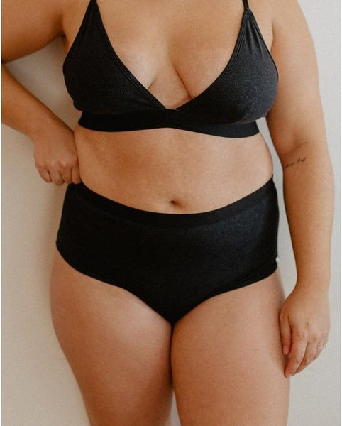 Hemp High Waist Bikini Undies - Black