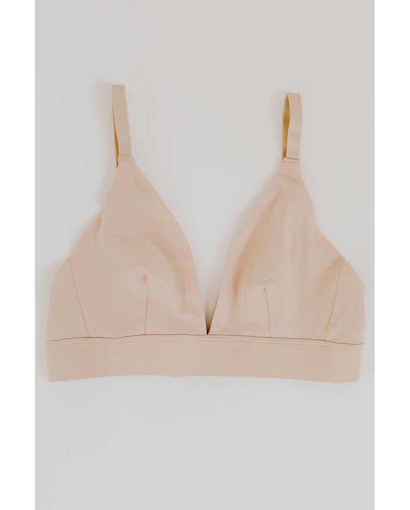 Organic Cotton Triangle Bralette - Beige