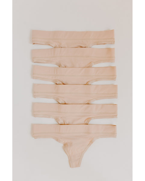 6-Pack Organic Cotton Everyday Comfy Thong - Beige