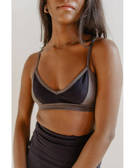 Organic Cotton Light Sports / Yoga / Lounge Bra - Slate Grey / Ink Navy Blue *FINAL SALE*