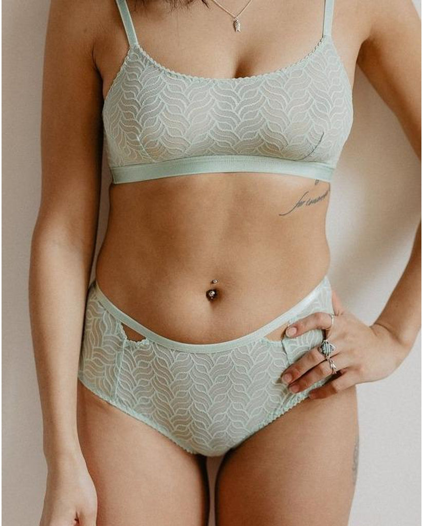 Recycled Wave Cutout Hipsters -  Mint