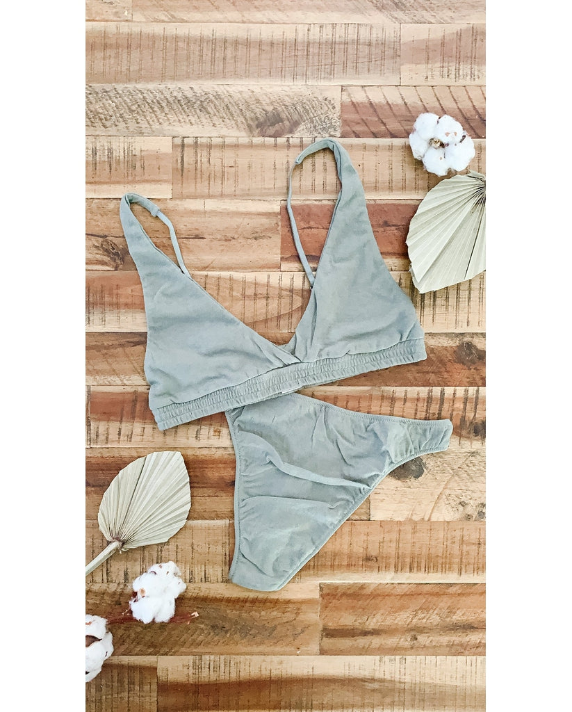Organic Cotton Olive Green Triangle Bralette + High Waist Thong Set