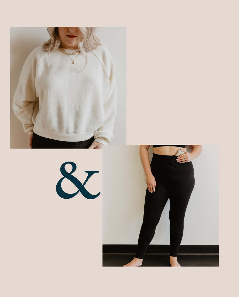 Sweater + Legging Set - Cream + Black