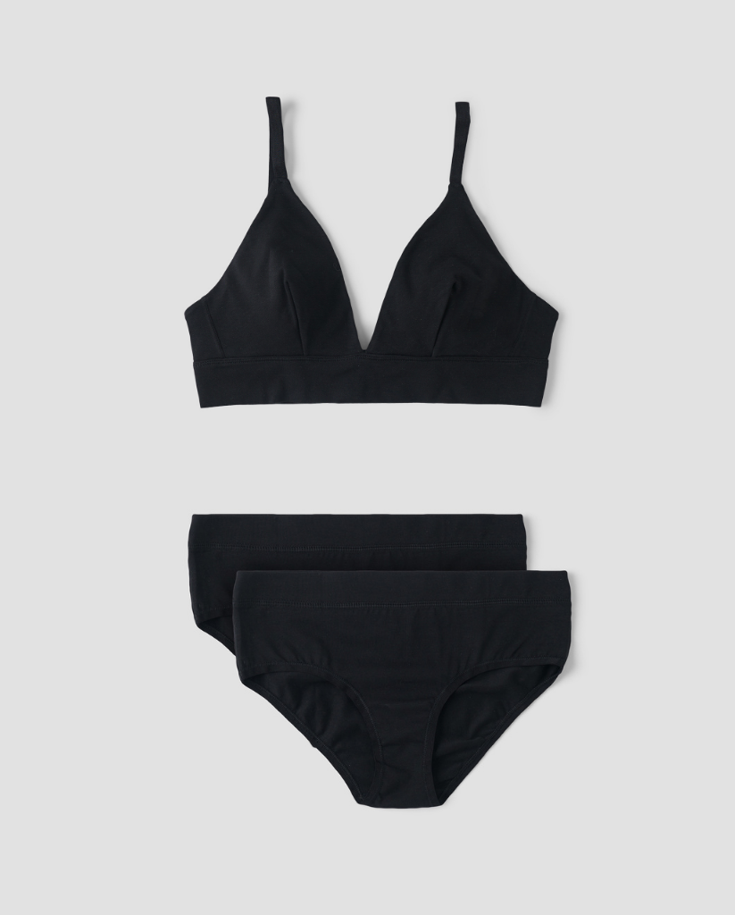 Organic Cotton Triangle Bralette + 2-Pack Hipster Bikini Set - Black
