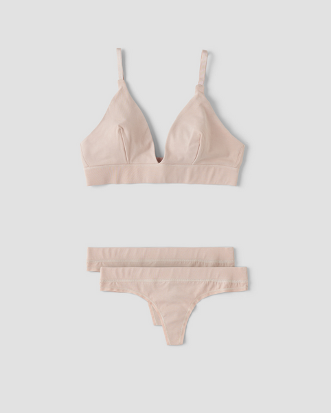 Organic Cotton Triangle Bralette + 2-Pack Thong Set Beige