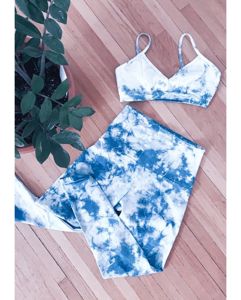 Organic Cotton Indigo Tie-Dye Bralette + Legging Set *FINAL SALE*