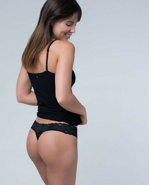 Black Organic Cotton Lace Thong - 2 pack *Only XL left!*