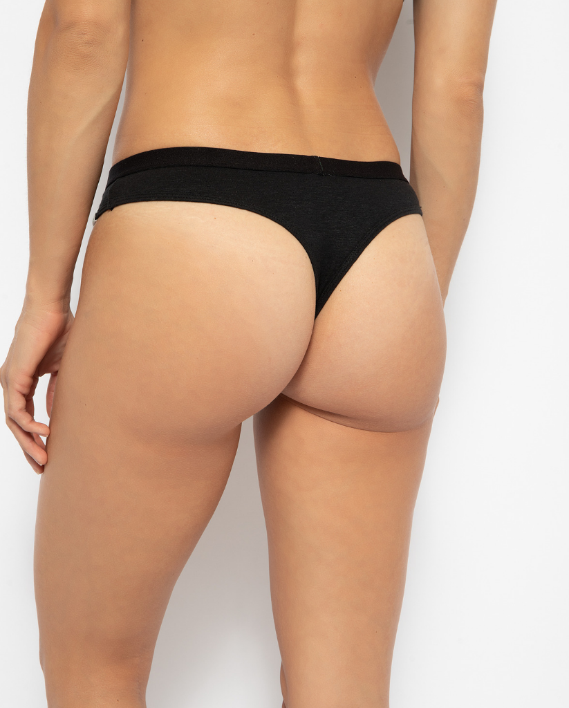 Women's Hemp Thong Undies - Black