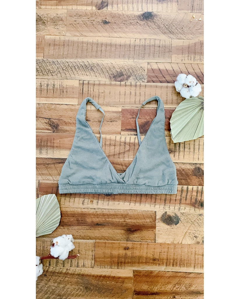 Organic Cotton Triangle Bralette - Olive Green
