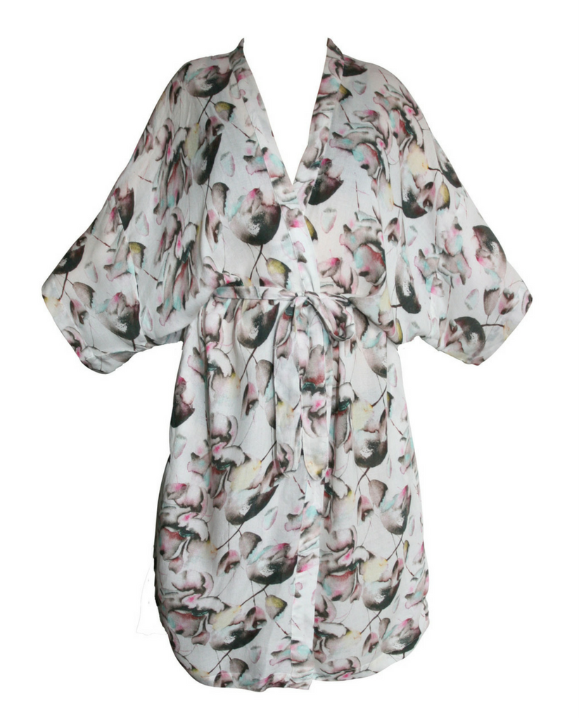 Florance Cream & Pink Floral Print Robe *Only XL Left!*