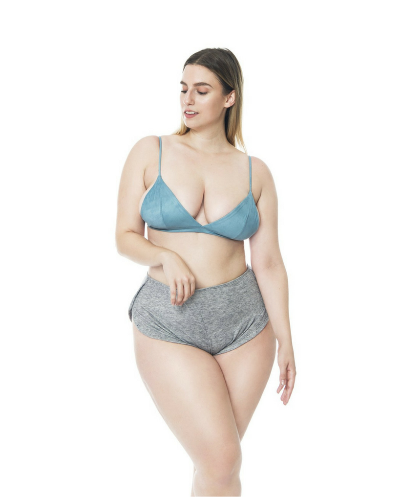 Teal Blue Cashmere Suede Bralette *Only S + M left!*
