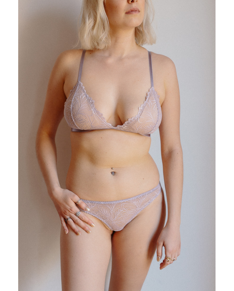 Purple Lima Recycled Lace Triangle Bralette