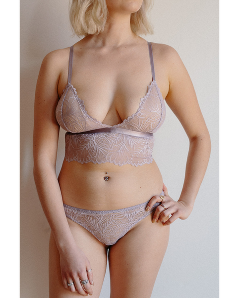 Purple Lima Recycled Lace Longline Bralette