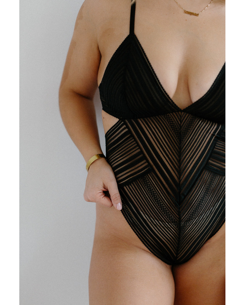 Heather Striped Bodysuit - Black *Only S left!*