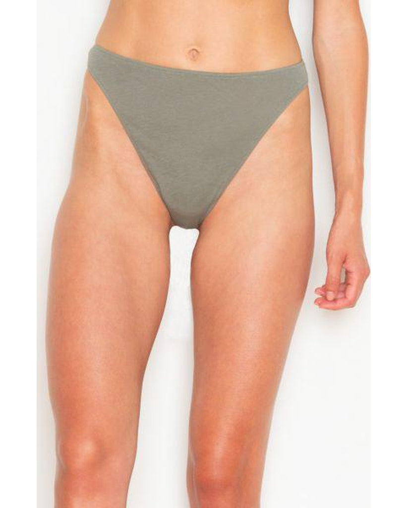 Organic Cotton High Waist Thong - Olive Green