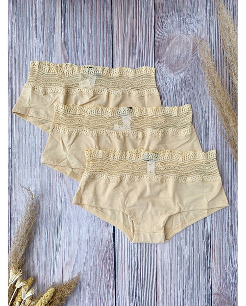 3-Pack Dolce Boyshorts Beige / Black