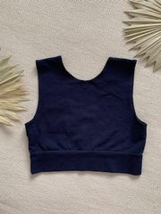 Organic Cotton Reversible Bralette - Ink Navy Blue
