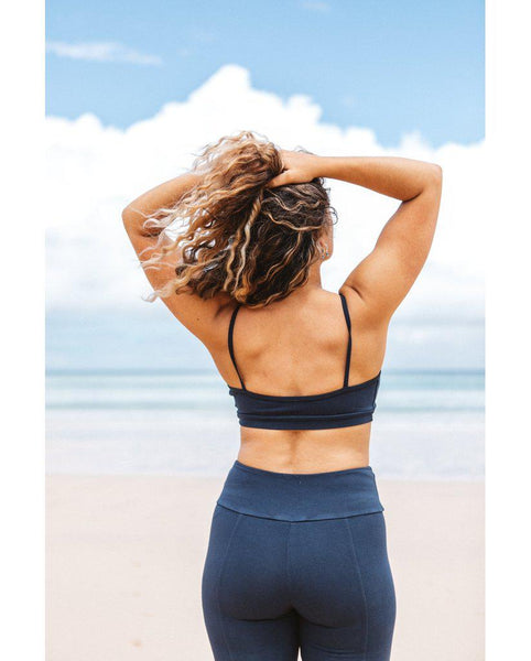 *PRE-ORDER* Organic Cotton Light Sports / Yoga / Lounge Bra - Ink Blue