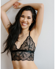 Lima Recycled Lace Bralette - Black Leaf