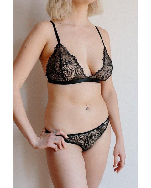 Black Lima Recycled Lace Triangle Bralette