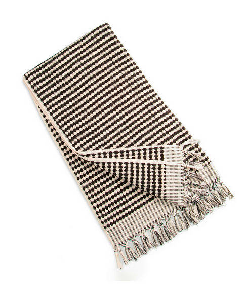 Marrakesh Black & White Turkish Beach Towel