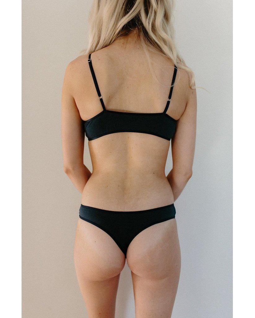 Organic Cotton Basic Rosy Thong - Navy Blue *FINAL SALE ITEM*