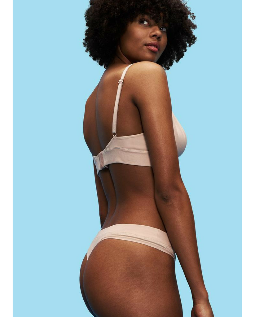 2-Pack Organic Cotton Everyday Comfy Thong - Beige