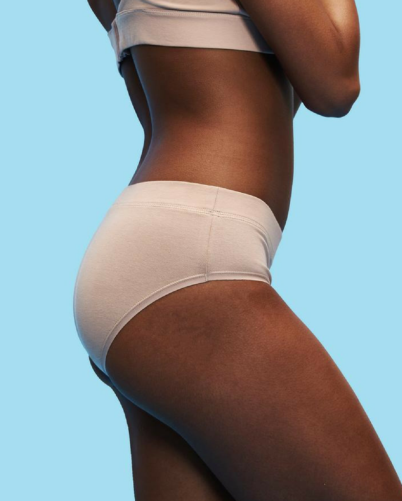 2-Pack Organic Cotton Hipster Bikini Undies - Beige