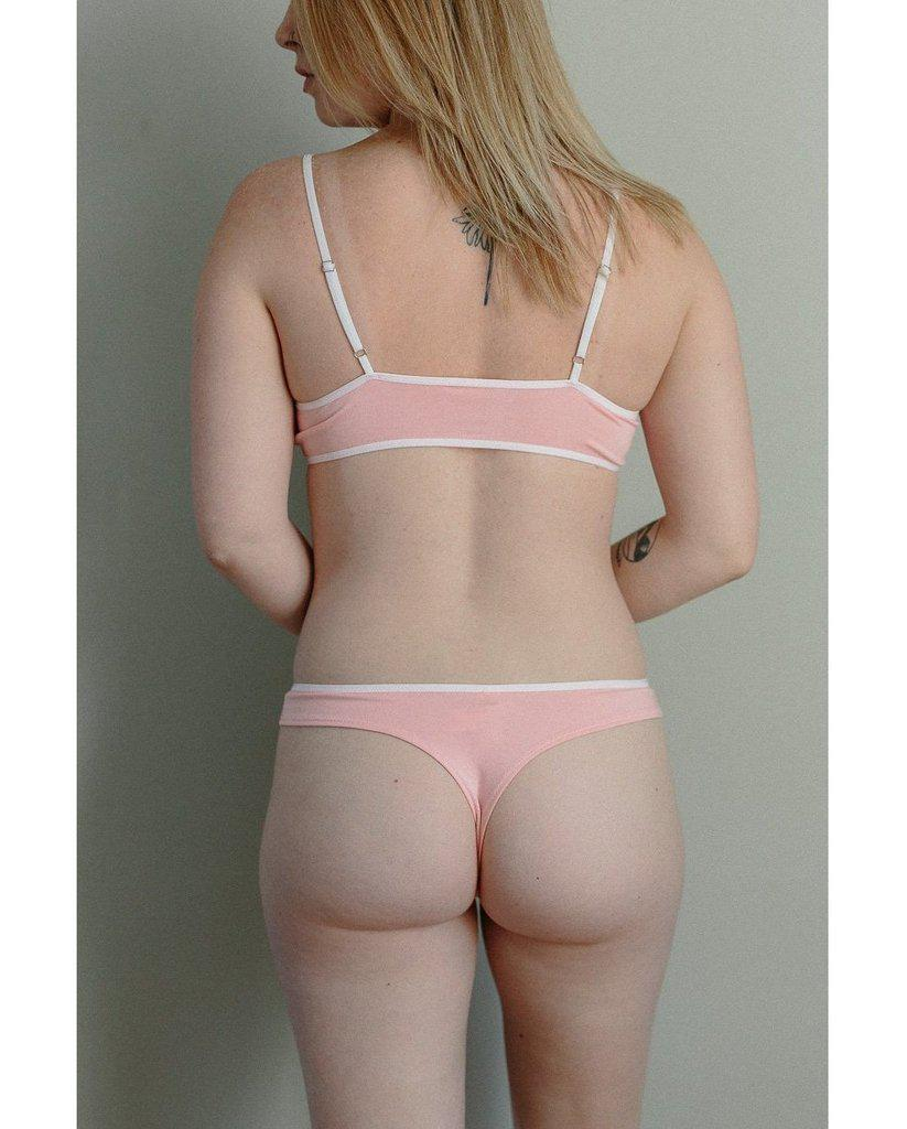 Organic Cotton Basic Rosy Thong - Pink
