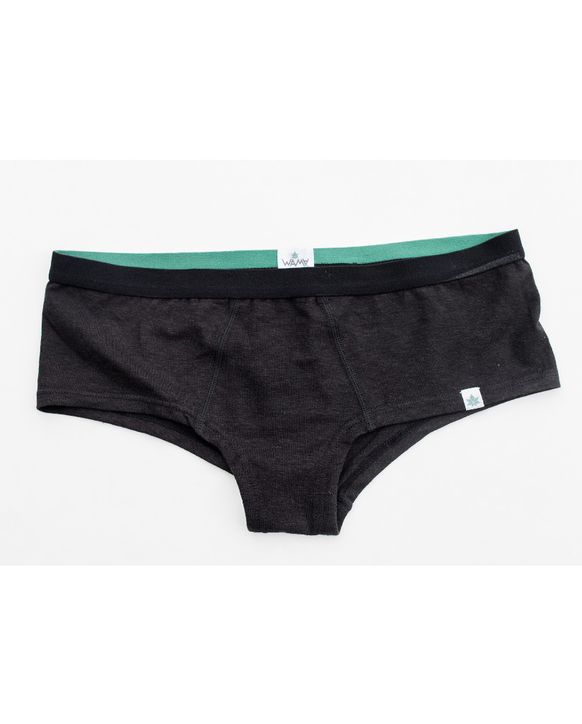 Women's Hemp Hipster Boyshort Undies - Black