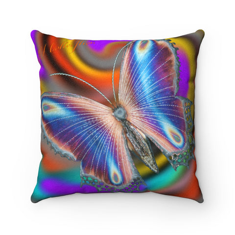 "MV Collection ""Light as a Butterfly"" Faux Suede Square Pillow"