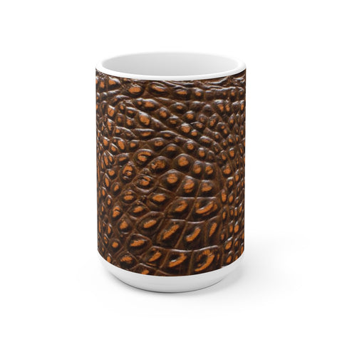 "MV Collection ""Brown Crocodile"" 15 OZ White Ceramic Mug"